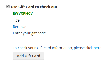 Use Gift Card to checkout